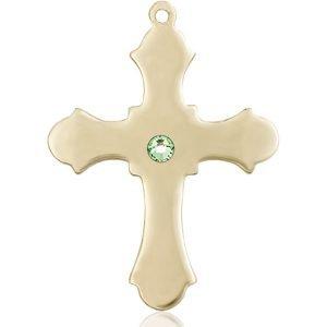 Cross Medal - August Birthstone - 14 KT Gold #89417