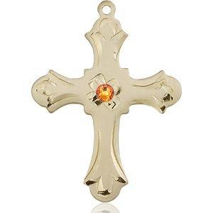 Cross Medal - November Birthstone - 14 KT Gold #89421