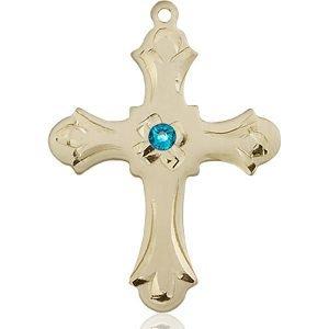 Cross Medal - December Birthstone - 14 KT Gold #89422