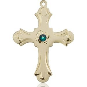 Cross Medal - May Birthstone - 14 KT Gold #89426