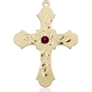 Cross Medal - January Birthstone - 14 KT Gold #89431