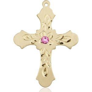 Cross Medal - October Birthstone - 14 KT Gold #89432