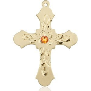 Cross Medal - November Birthstone - 14 KT Gold #89433