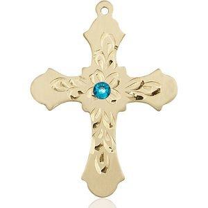 Cross Medal - December Birthstone - 14 KT Gold #89434