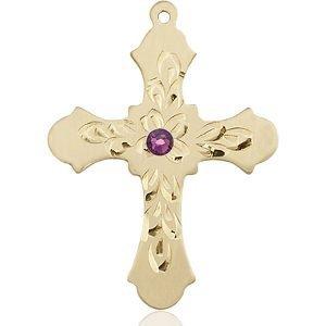 Cross Medal - February Birthstone - 14 KT Gold #89435