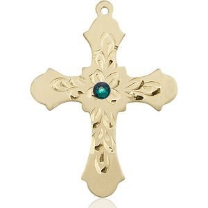 Cross Medal - May Birthstone - 14 KT Gold #89438