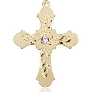 Cross Medal - June Birthstone - 14 KT Gold #89439