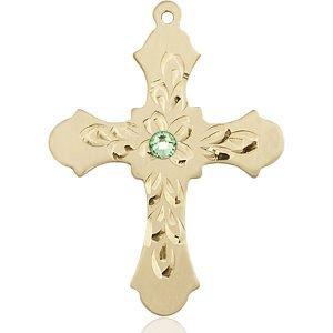 Cross Medal - August Birthstone - 14 KT Gold #89441