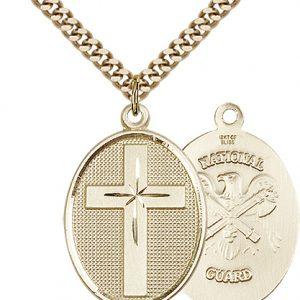14kt Gold Filled Cross - National Guard Pendant