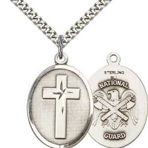 Sterling Silver Cross - National Guard Pendant