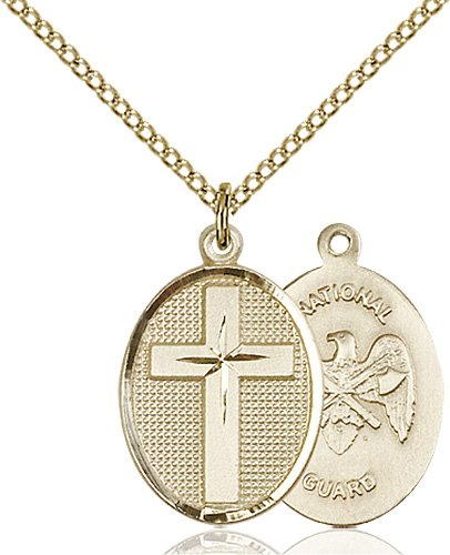 14kt Gold Filled Cross - National Guard Pendant