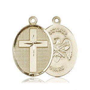 14kt Gold Cross - National Guard Medal