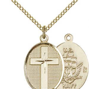 14kt Gold Filled Cross - Navy Pendant