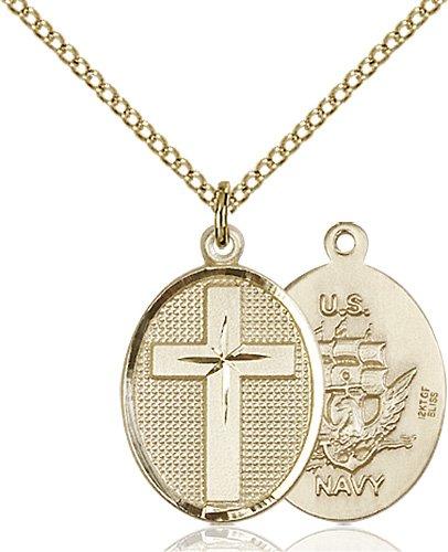 14kt Gold Filled Cross - Navy Pendant