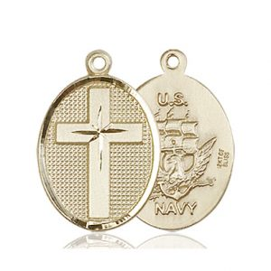 14kt Gold Cross - Navy Medal