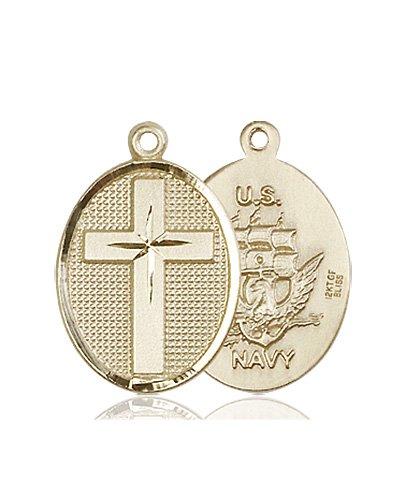 14kt Gold Cross - Navy Medal