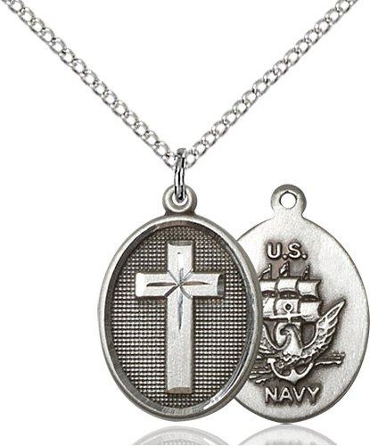Sterling Silver Cross - Navy Pendant