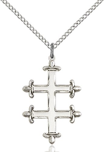 Sterling Silver Cross of Lorraine Necklace #87883