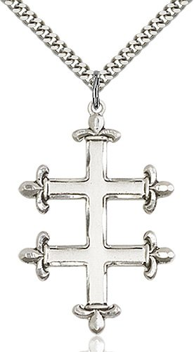 Sterling Silver Cross of Lorraine Necklace #87887