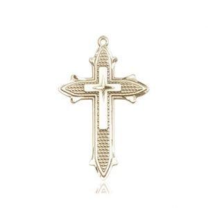 14kt Gold Cross on Cross Medal #88041