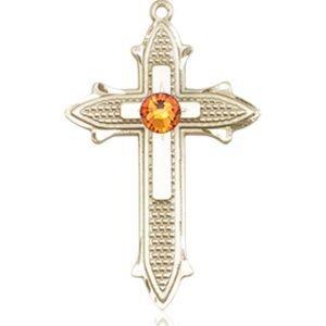 Cross on Cross Medal - November Birthstone - 14 KT Gold #89529