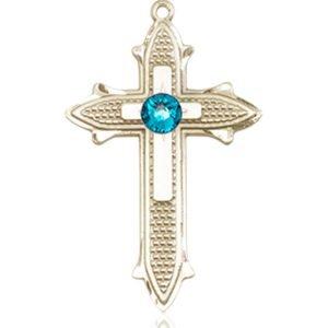 Cross on Cross Medal - December Birthstone - 14 KT Gold #89530