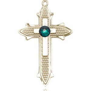 Cross on Cross Medal - May Birthstone - 14 KT Gold #89534
