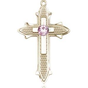 Cross on Cross Medal - June Birthstone - 14 KT Gold #89535
