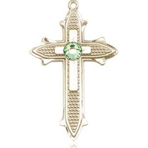 Cross on Cross Medal - August Birthstone - 14 KT Gold #89537