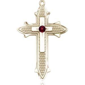 Cross on Cross Medal - January Birthstone - 14 KT Gold #89563