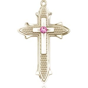 Cross on Cross Medal - October Birthstone - 14 KT Gold #89564