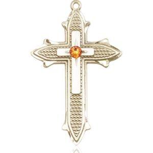 Cross on Cross Medal - November Birthstone - 14 KT Gold #89565