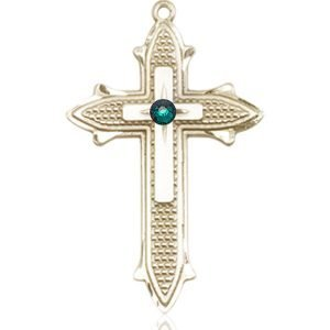Cross on Cross Medal - May Birthstone - 14 KT Gold #89570