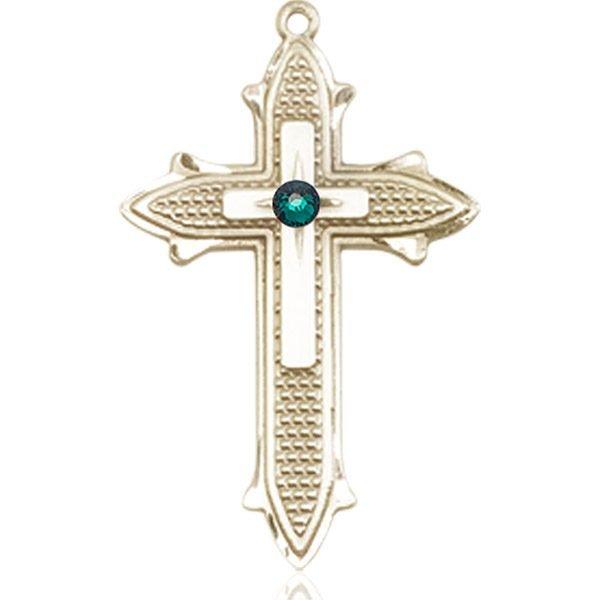 Cross on Cross Medal - May Birthstone - 14 KT Gold #89570