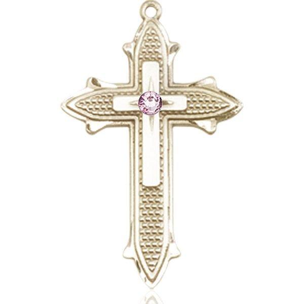 Cross on Cross Medal - June Birthstone - 14 KT Gold #89571
