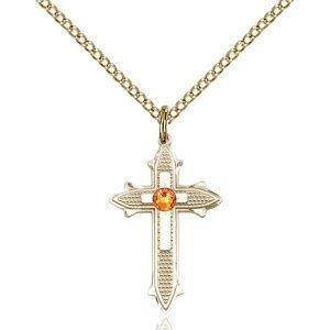 Cross on Cross Pendant - November Birthstone - Gold Filled #89517