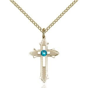 Cross on Cross Pendant - December Birthstone - Gold Filled #89518