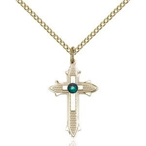 Cross on Cross Pendant - May Birthstone - Gold Filled #89522