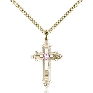 Cross on Cross Pendant - June Birthstone - Gold Filled #89523