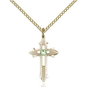 Cross on Cross Pendant - August Birthstone - Gold Filled #89525