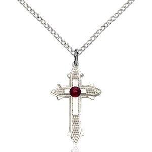 Cross on Cross Pendant - January Birthstone - Sterling Silver #89539