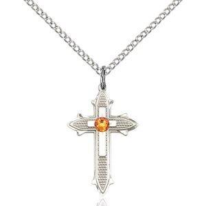 Cross on Cross Pendant - November Birthstone - Sterling Silver #89541