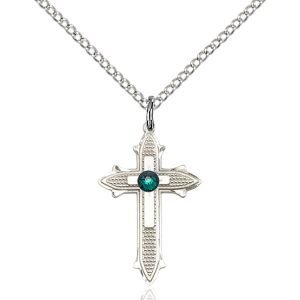 Cross on Cross Pendant - May Birthstone - Sterling Silver #89546