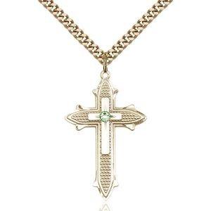 Cross on Cross Pendant - August Birthstone - Gold Filled #89561
