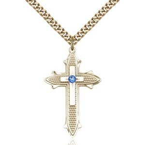 Cross on Cross Pendant - September Birthstone - Gold Filled #89562