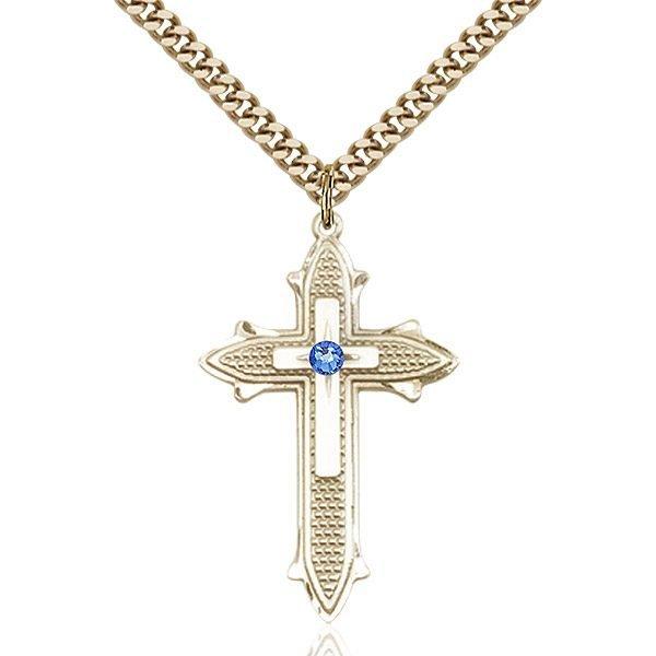 Cross on Cross Pendant - September Birthstone - Gold Filled #89562