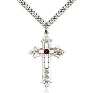 Cross on Cross Pendant - January Birthstone - Sterling Silver #89575