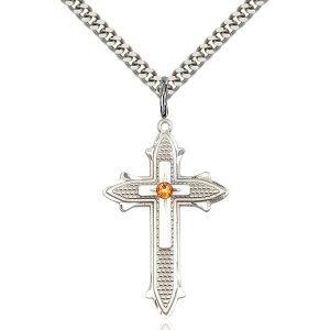 Cross on Cross Pendant - November Birthstone - Sterling Silver #89577