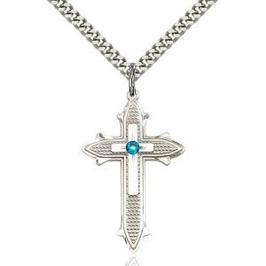 Cross on Cross Pendant - December Birthstone - Sterling Silver #89578