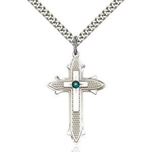 Cross on Cross Pendant - May Birthstone - Sterling Silver #89582